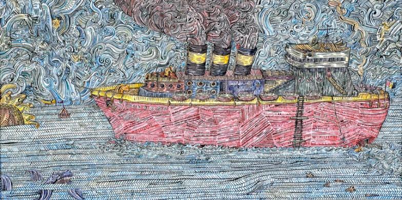 Ship 97x48cm